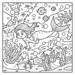 Coloring book: little mermaid and sea world