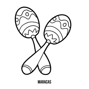Coloring book for children: music instruments (maracas)