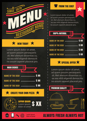 Brochure or poster Restaurant  food menu with Chalkboard Backgro