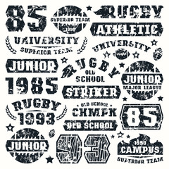 Rugby team typographic elements