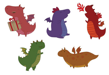 Vector Set of cute colorful little dragons. Cartoon image of five cute little dragons with small wings of various colors and in various poses on a light background.