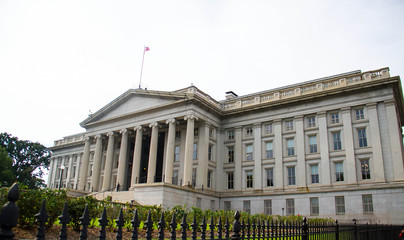 US. Department of Treasury with white sky, Washington