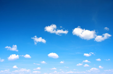 Blue sky with cloud closeup. Nature background.