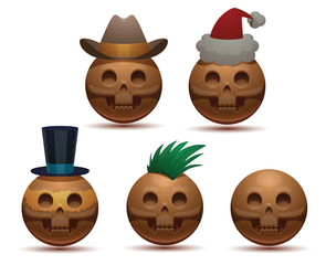 Vector Set of round skulls. Cartoon image of gray round five skulls: in a cowboy hat, in a Santa's hat, in a cylinder and with a green mohawk on a light background.