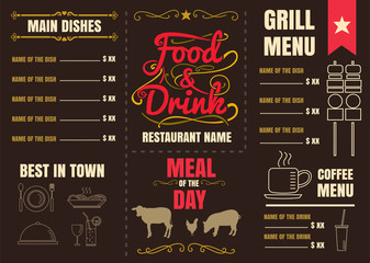 Brochure or poster Restaurant  food menu with brown Background v