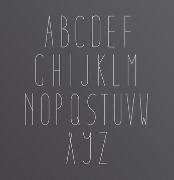 Minimal Font Symbol Icon Alphabet A through Z. Light font, vector alphabet letters design.
