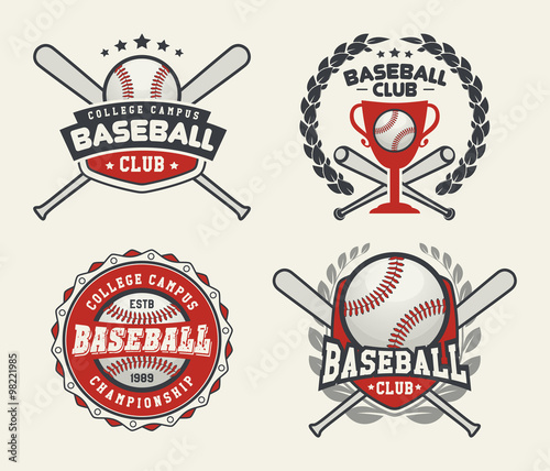 Set Of Sport Baseball Badge Logo Templates Label T Shirt Graphics