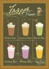 Vector drawing beverage frappe on blackboard.Menu for coffee or bakery shop.