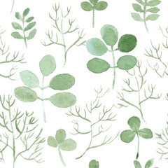 watercolor leaf seamless vector pattern