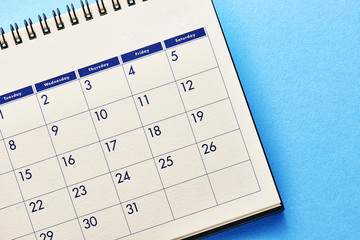 Calendar.On blue background.
