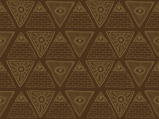 Vector Seamless Pattern from Masonic symbols, brown. Seamless pattern made from Masonic symbols with the pyramids and eyes on a brown background.