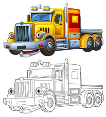 Cartoon truck - coloring page - illustration for the children