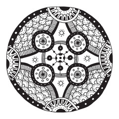 Vector Ethnic doodle black and white round pattern with circles. Ethnic retro doodle black and white round pattern with circles on a white background.