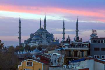 Sunrise View of Sultan Ahmed Mosque in Istanbul city