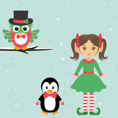 girl elf and owl and penguin