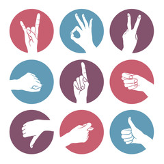 Human gestures icons. Woman hand outline isolated on white background. People hand signs. Ok, thumb up, thumb down, fig, victory, pointing finger, sign of the horns.