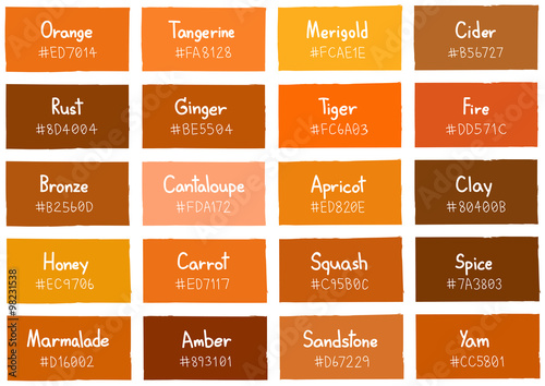 Tone On Tone Color orange tone color shade background with code and name illustration