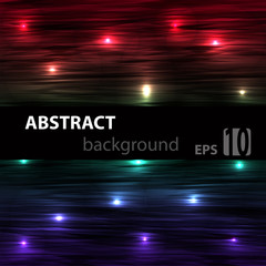 Abstract striped glowing horisontal background with red blue and green colours. Vector