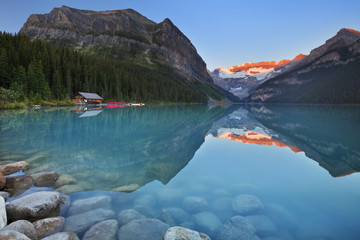 Lake Louise, Banff National Park, Canada at sunrise