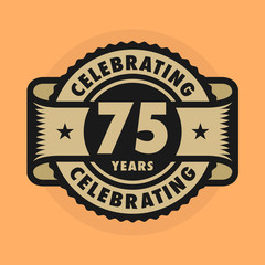 Stamp with the text Celebrating 75 years anniversary
