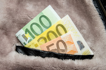 Euros in your pocket of wintry jacket