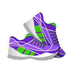 Violet sport sneakers, modern illustrations in flat style.