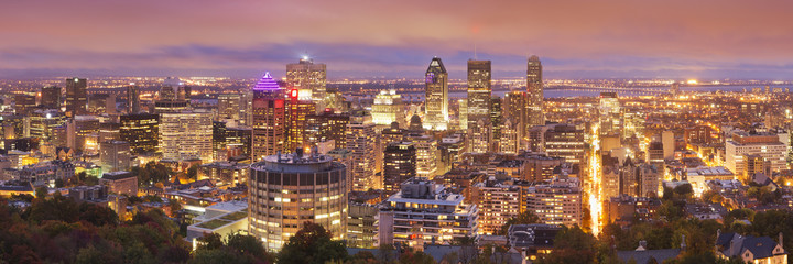 Skyline of Montréal, Quebec, Canada from Mount Royal at night