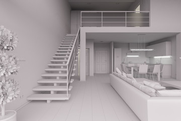3D Interior rendering of a modern tiny loft