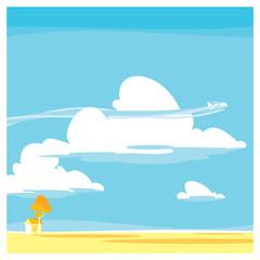 Vector cartoon landscape. clouds