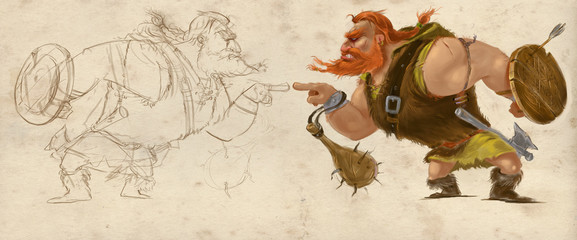 Viking Character Illustration. Mascot stylized design. Sketched and rendered version of a muscular man standing in attack position. Raster digital illustration.