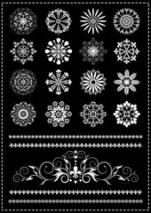 Collection white patterns and borders on a black background