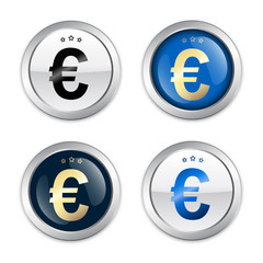 Profit seals or icons with Euro symbol. Glossy silver seals or buttons.
