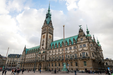 Hamburg, Germany Town hall on Rathous square.