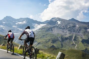 Bikers in the alps