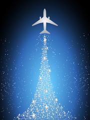 Festive silhouette aircraft fly over dark blue sky