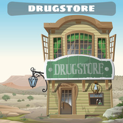 Old two-story pharmacy in the wild West