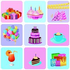 Birthday background with colorful party elements. eps 10 vector illustration