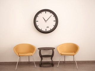 Wall Mural - 3d illustration of Waiting room. Two chairs, table and clock