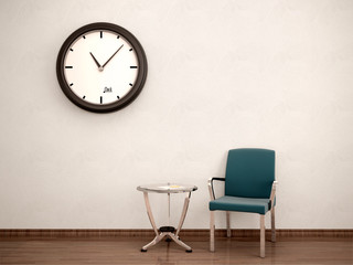 Wall Mural - 3d illustration of Waiting room. Chair, table, clock