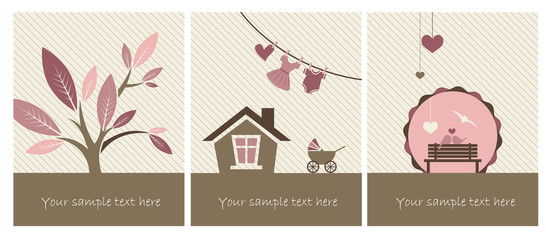Set of Illustrations for newborn baby girl
