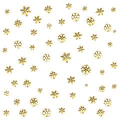 Gold snowflake seamless pattern. Vector illustration. Beautiful Christmas background.