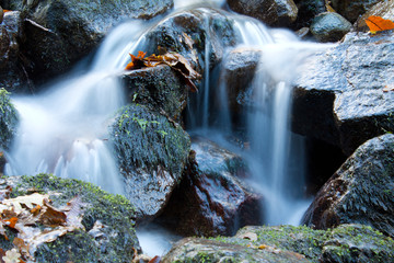 great wonders of nature - brook waterfalls with rocks, long exposure effect of softness