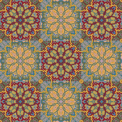 Vector bright pattern. East ornament with contour and colorful details on the turquoise background. Template for any surface. Elegant backdrop with oriental ornaments of mandalas