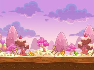 Cartoon sweet candy land seamless illustration