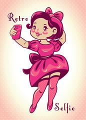 Cute comic vector retro style illustration