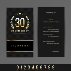 Jubilee 5th, 10th, 20th, 30th, 40th, 50th, 60th invitation card(gold and black colors). Vector illustration.