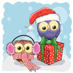 Two Christmas Owls
