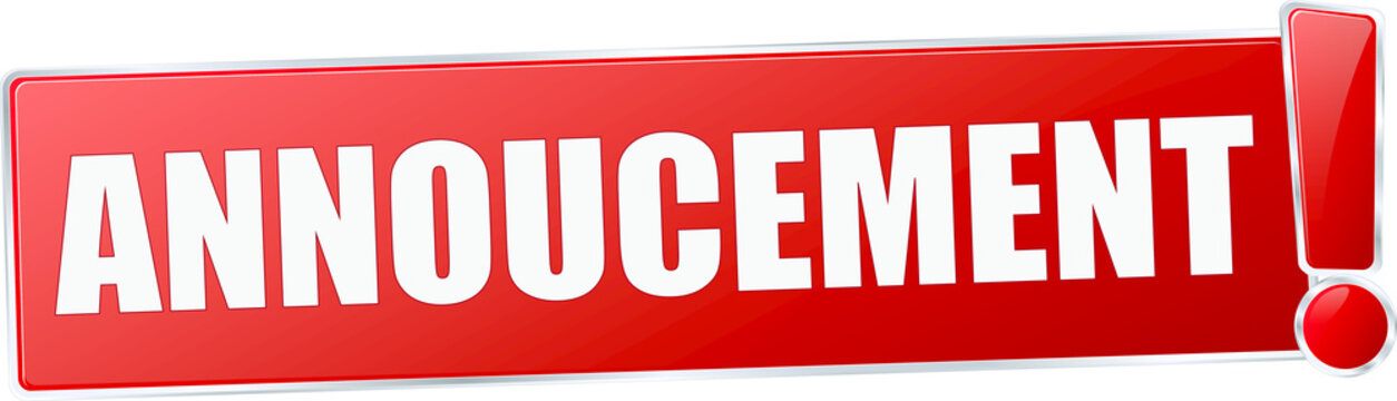 modern red annoucement vector sign in red with metallic border and a exclamation mark