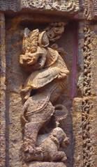 Simha Gaja.Stone carving, 13 century AD, Surya mandir, Konark, India