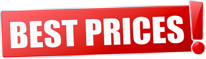 modern red best price vector sign in red with metallic border and a exclamation mark